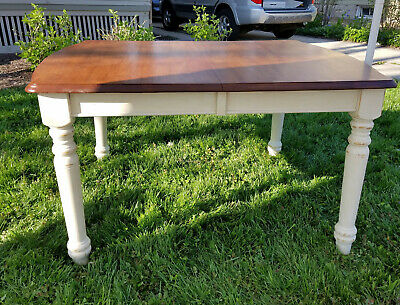 Natural Finish Wood & Antique Off-white Legs Farm Table Sturdy No Veneer Seats 6