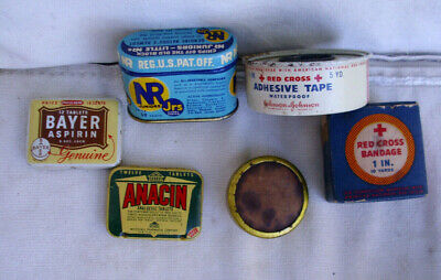 Vintage lot of miniature medical & pharmacy tins + 1 box.....sold as 1 Lot