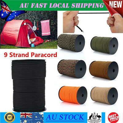 550 Paracord Parachute Cord Rope Lanyard Mil Spec Type 9 Strand Core Tent 100M