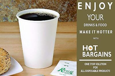 12oz Disposable Single Wall White Paper Cups for Hot Drinks Tea , ECO - FRIENDLY
