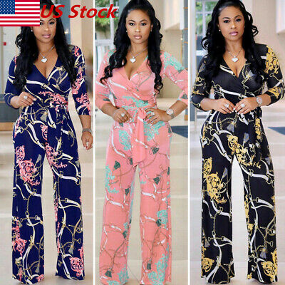 New Womens Casual Summer Floral Playsuit Bodycon Party Jumpsuit Romper Trousers