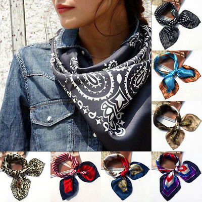 Small Vintage Head Neck Hair Tie Band Women Ladies Square Silk Feel Satin Scarf!