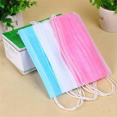 50Pcs Disposable Ear Loop Mouth Face Mask Dental Medical Surgical Dust #am8