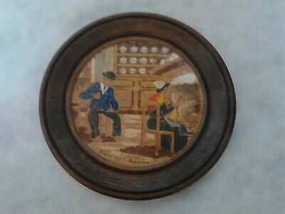 Old Antique Primitive Wooden Bowl Round Plate Hand Painted