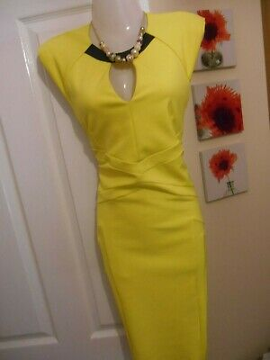 6f070d8ff27d97 STUNNING** RIVER ISLAND Size 14 Yellow Cut Out Bodycon Dress **fast ...