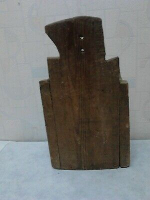 Primitive Antique Old Hand Carved Wooden Big Wall Hanging Kitchen Box For Spoons