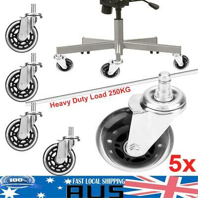 5pcs Galvanizing Office Desk Chair Wheels Replacement Rolling Grip Ring Casters