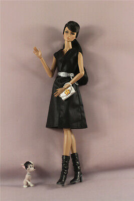 5in1 Set Fashion Black Dress gown+belt+pet+Boots+Bag Outfit  FOR 11.5 inch Doll