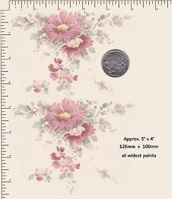 2 x Ceramic decal Decoupage Delicate Pink floral by Capper 125mm x 100mm D1