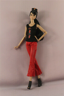 Fashion Outfit  Top vest +pants trousers+shoes+glasses clothes For 11.5in.Doll