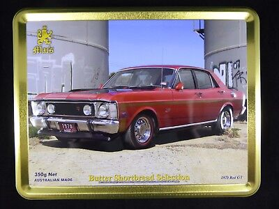Embossed Mac's Shortbread Tin 1970 Ford Falcon GT red, XW, XY