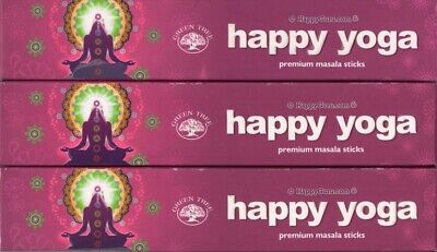 """Happy Yoga"" 3 Packets Green Tree Incense Sticks Masala Blend 3x 15g Packets"