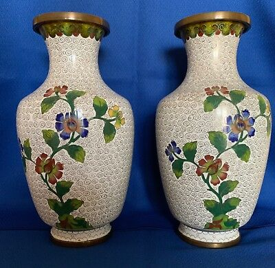CHINESE CLOISONNE VASES,  Pair, Circa 1950 or before