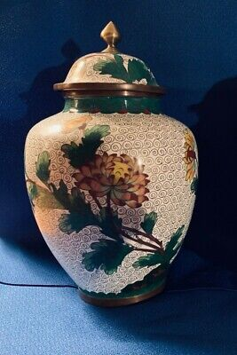 CHINESE CLOISONNE GINGER JARS with LIDS, PAIR, Circa 1950 or Before