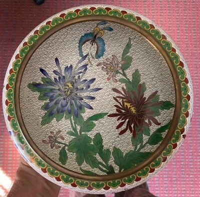 Chinese Cloisonne Bowl with Carved Wood Stand,  Circa 1950 or Before