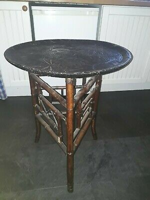 Oriental Victorian Bamboo Antique Engraved  top, round Coffee, side table