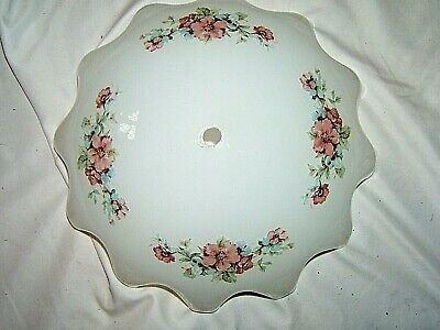 """Vintage Ceiling Mount Light Shade-White with  Floral Motif 11 1/2"""""""
