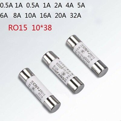 10PCS 20A Quick Fast Blow Ceramic Tube Fuse 10mm x 38mm RO15 380//500V CE
