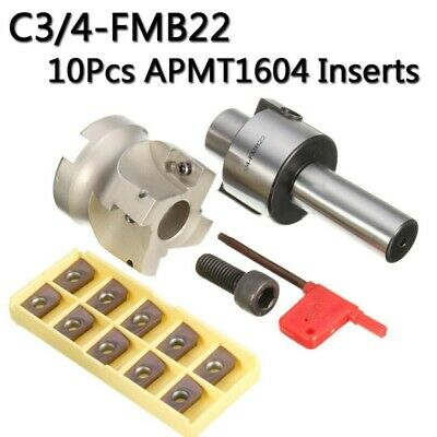 C3/4-FMB22 Holder Face Mill Cutter 400R-50-22 &10Pcs APMT1604 Carbide Insert UK