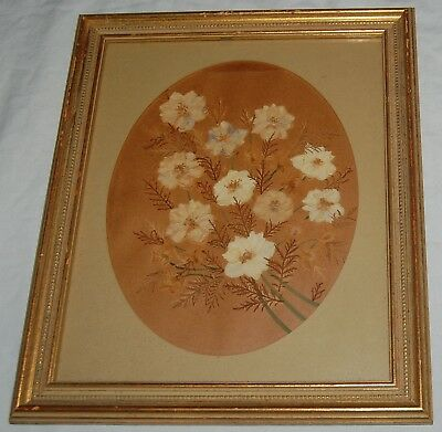 Vintage Glass Dried Pressed Flowers Leaves Frame Brown Cream Floral Bouquet Art