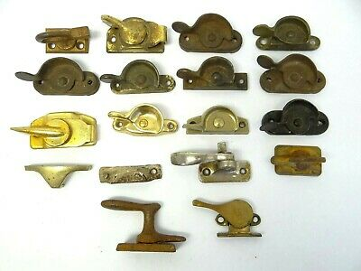 Mixed Vintage Lot Used Metal Brass Iron Window Locks Parts Hardware Old