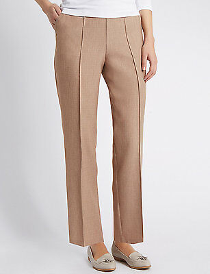 Beige stone mink pull on style trousers in plus size 24 from Marks and Spencer