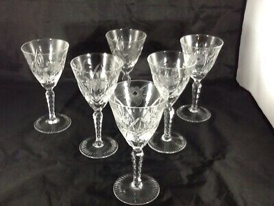 LEAD AND CUT GLASS CRYSTAL WINE GOBLETS SET OF 6 Very ELLIGANT  STEMMED
