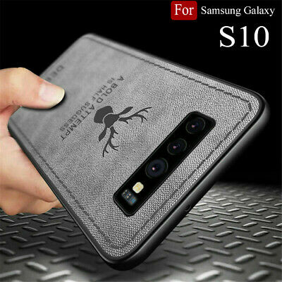 For Samsung S10 Plus S10+ Deer Pattern Case Cloth Texture Soft TPU Back Cover UK