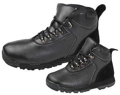 Mens Boys Faux Leather Lace Up Walking Hiking Chelsea Ankle Boots School Shoes