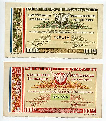 Billet Loterie Nationale / Lot De 2 Billets 1935