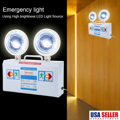 Red LED Emergency Exit Light Sign Battery Backup Dual Safety US STOCK