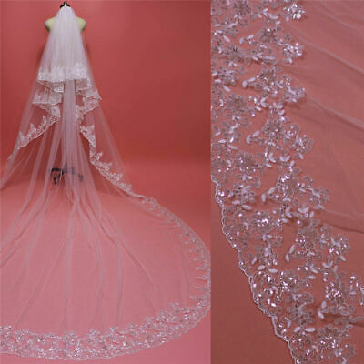 Bling Bling Wedding Veils Cathedral 2T Comb Bridal Veil Accessories White Ivory