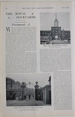 1901 Print Royal Dockyards Portsmouth Semaphore Tower Main Gate Ship Building