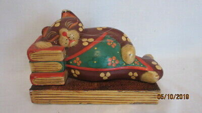 Hand Carved Wooden Cat Sleeping on Books Figurine Colorful Bookend