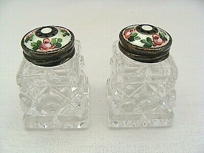Hroar Prydz Salt & Pepper Shakers With Sterling Silver Guilloche Enameled Lids