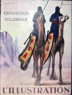 Original Old Vintage Print Colonial Exhibition Camels Dubois French 1931 20th