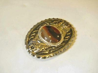 """POLISHED STONE Black Silver Tone Belt Buckle OVAL 3"""" by 4"""" Cats Eye"""