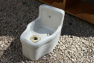 Vintage Crane Porcelain Wall Water Drinking Fountain Bubbler White Small