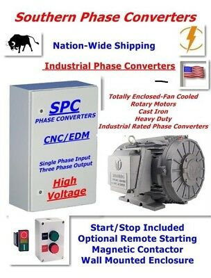 20 HP Rotary Phase Converter--CNC Digital TEFC Rotary Cast Iron Motor