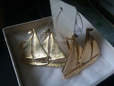 VINTAGE Goldtone TWO-PIECE BELT BUCKLE SAIL BOATS w/tags