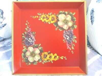 Gorgeous Antique Red Tole Tray - Hand Painted Yellow White Hollyhocks & Lilacs
