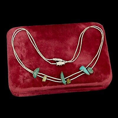 Antique Vintage Sterling Silver Native Navajo Turquoise Liquid Silver Necklace