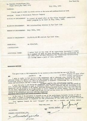 George Jessel- Signed Contract from 1944