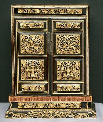 Truly Spectacular Antique Chinese Hand Carved Gilded Temple Box Circa Early 1800