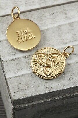CELTIC KNOT Infinity Eternity 1 Pc Stainless Steel Gold Golden Tone Pendant 22mm