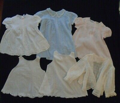 Vintage Lot of 6 Sheer Baby Girls Embroidery Lace Delicate Details Featherweight