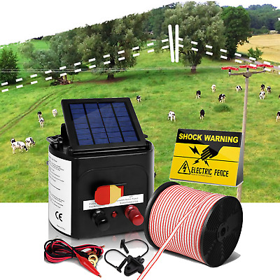 Giantz 8KM Solar Power Electric Fence Charger Kit BONUS Post Insulator Polytape
