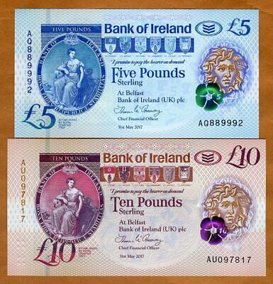 SET Bank of Ireland, Northern, 5;10 pounds, 2017 (2019), P-New Polymer, UNC