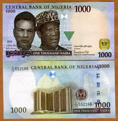 Nigeria, 1000 naira, 2018, P-New, UNC > Highest Denom