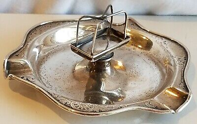 Vintage Sterling Silver Cigar Ashtray Matches Rest Deco Ornate Antique 5""